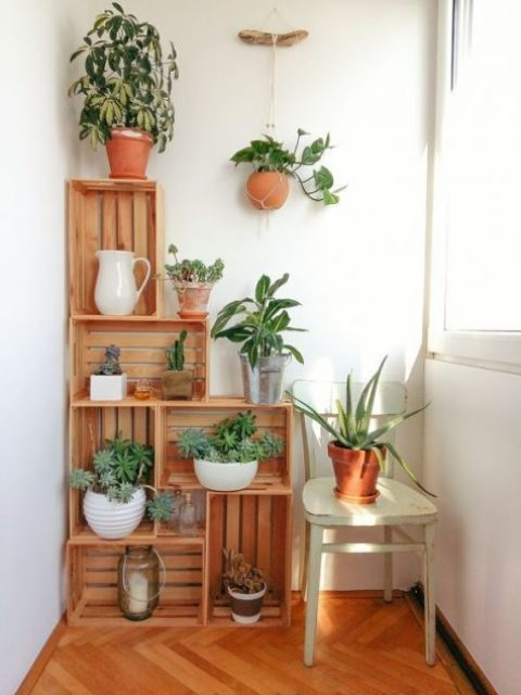 a wooden crate shelving unit acts as a garden with potted greenery, a great idea for decorating a small balcony