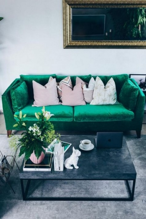 an emerald velvet Stockholm sofa will bring color and texture to your living room