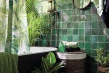 08 dark green tiles paired with light green wall, lots of greenery and a tropical print curtain for a tropical feel