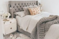 09 a grey wingback tufted headboard is a stylish and timeless idea that will fit a contemporary bedroom
