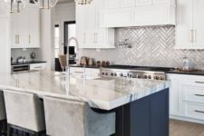 09 elegant glass bubble pendant lamps with gold touches add chic to the kitchen and echo with the hardware