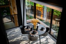 a small dining zone by the window