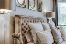 11 a refined headboard upholstered with crushed velvet and silk in taupe shades is a very elegant option to go for