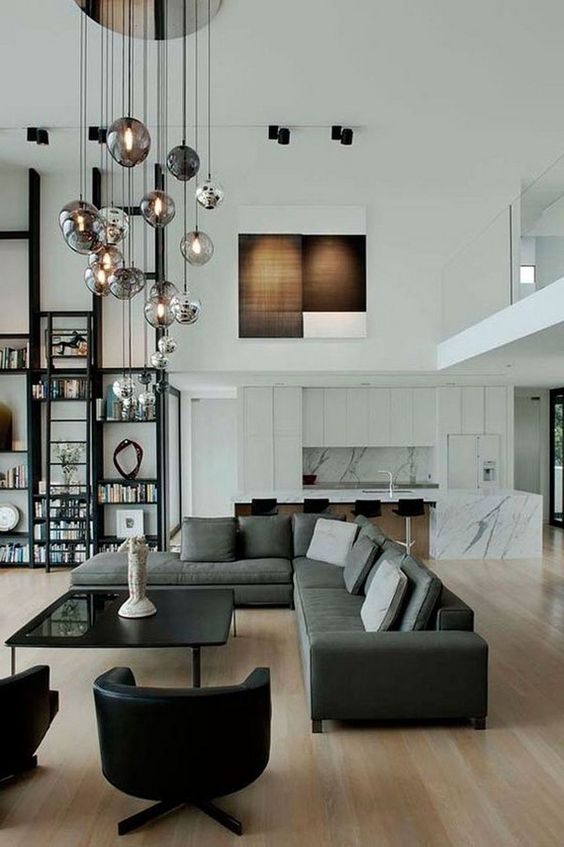hanging glass pendant lamps at different height will make a bold statement and bring light
