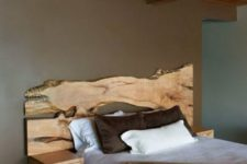 12 a live edge wooden headboard with little floating nightstands adds a natural feel to the space