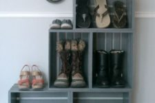10 a turquoise bookshelf fully made of crates placed on vintage legs is a stylish rustic furniture piece