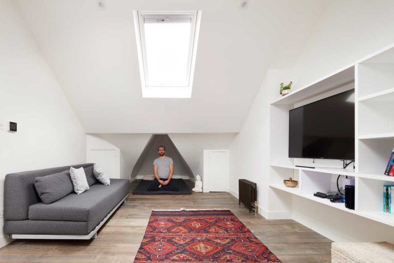 This room is used as a second living room and a yoga room, with a tiny nook right for this