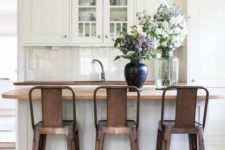 13 amazing aged metal pendant lamps that echo with the stools and create a mood in the kitchen