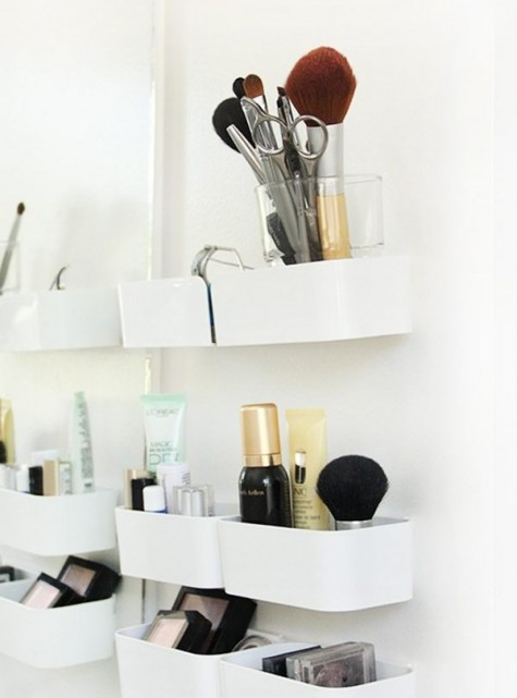 an Ikea Pluggis system is used to create your perfect makeup storage solution in your bathroom