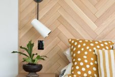 14 a stylish wooden headboard done with a herringbone pattern and with floating nightstands attached will make the bedroom cozier