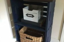 15 a small entryway console of navy crates, a dark stained tabletop and metal legs is a very cool idea for a small space