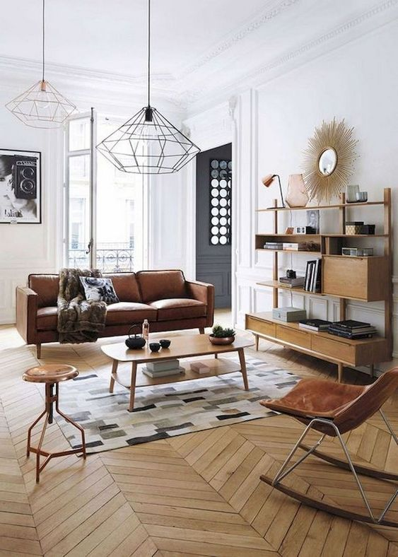 geometric pendant lamps pefectly match the mid century modern style used here