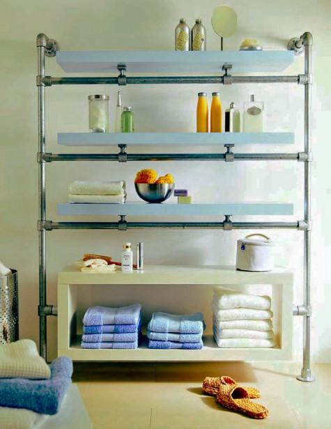 Ikea Lack shelves and galvanized pipes and fittings turned into a stylish and chic shelving unit for a large bathroom