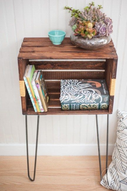 a stylish small side table made of a rich stained crate and hairpin legs can be also used as a nightstand