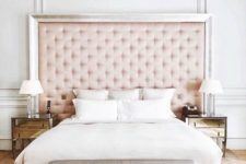 17 a blush tufted headboard with a shiny frame is a perfect match for a glam-inspired bedroom liek this one