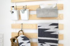 17 an Ikea Luroy slatted bed base turned into a comfy holder for small stuff of various kinds – put it in holders or hang on hooks