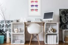 18 a cute and simple desk of whitewashed crates and a neutral tabletop for a relaxed space