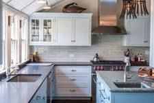 19 a beautiful coastal kitchen featuring wall and ceiling lights to make the whole space fully enlit