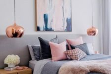 19 a feminine bedroom with touches of pink and cute copper pendant lamps for a chic look