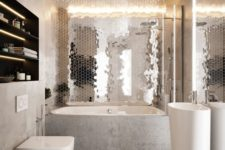 19 a statement reflective hex tile wall refreshes and nelivens the neutral bathroom done with stone