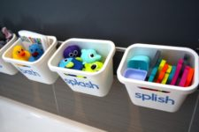 19 stylish and fun toy storage made using a Grundtal rail and Rationell waste sorting bin