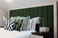 21 a gorgeous dark green upholstered headboard with a wide white frame for a contrasting and bold combo