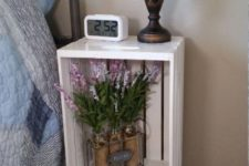 21 a nightstand made of a white crate and vintage legs will easily fit a refined space with a vintage feel