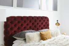 22 a tufted headboard upholstered in a deliciously deep red velvet is the ultimate luxury