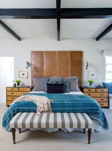 a tall brown leather headboard of several parts can be easily DIYed by you for your sleeping space