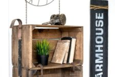 24 a stained coffee crate side table on casters with industrial detailing is a bold idea