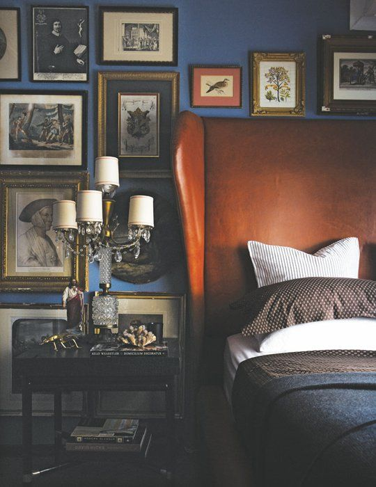 add a refined vitnage touch to your bedroom with a sleek brown leather wingback headboard