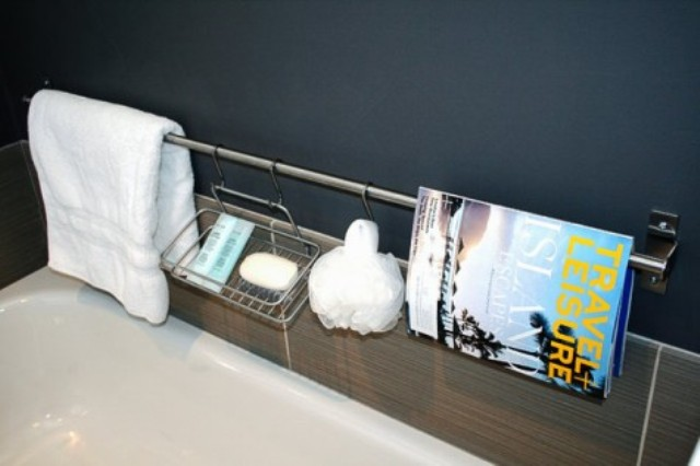 an Ikea Grundtal rail plus some containers can be used as a cool and simple shower caddy