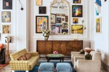 24 sculptural black sconces add some light and continue the quirky look of the gallery walls