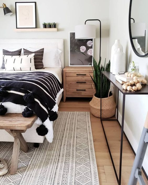 wood, plywood, pompoms, succulents and metal make the bedroom catchier and cooler