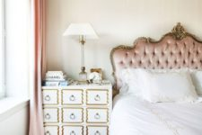 26 a refined and chic blush tufted headboard with framing is a chic idea for a luxury or glam bedroom