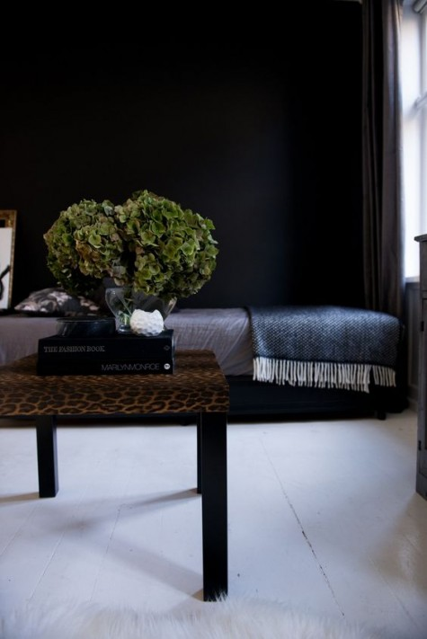 an elegant IKEA Lack coffee table done with animal print contact paper - such prints are on top