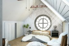 an eclectic bedroom with a large porthole window at the headboard as a decorative accent