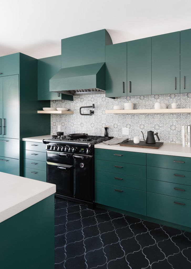 an awesome modern kitchen design with green cabinets