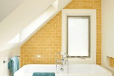 03 sunny yellow subway tiles to create an accent wall are a nice touch of fall color to your bathroom