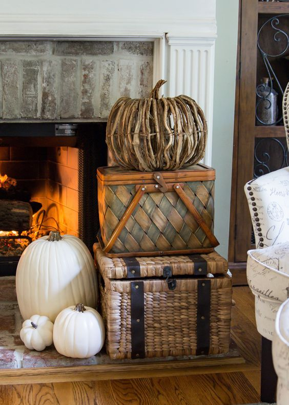 use the same wicker chests and baskets where you usually store towels and pillows for fall decor