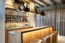 a stylish home bar design with interesting hidden lighting