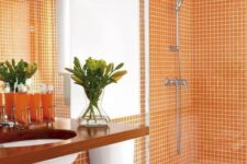 05 orange tiles will make your bathroom cheerful, bold and very fall-like, which is great