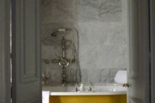 10 paint your clawfoot bathtub in a mustard shade to give the bathroom a fall feel and make it bolder and brighter