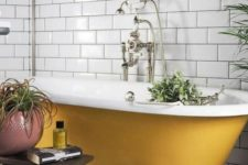 12 a yellow clawfoot bathtub is a cool colorful accent in fall style, it's a great idea for embracing the season