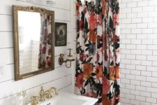 13 a floral shower curtain in bold fall blooms is a cool and easy accent to feel like fall