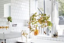23 decorate your bathroom with fall leaf arrangements and some amber bottles – this is an easy way to embrace the season