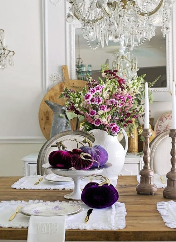 bright velvet pumpkins and faux blooms are fall decorations that will last for long