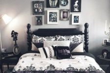 a monochromatic bedroom spruced up with printed pillows, a bold scary gallery wall and some more artworks