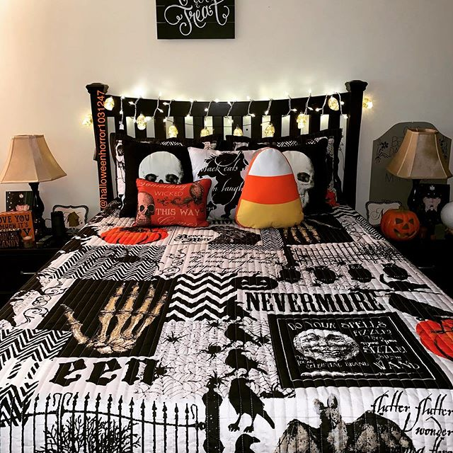 spruce up your bedroom with unique Halloween bedding, a candy corn pillow, pumpkins, lights and lamps