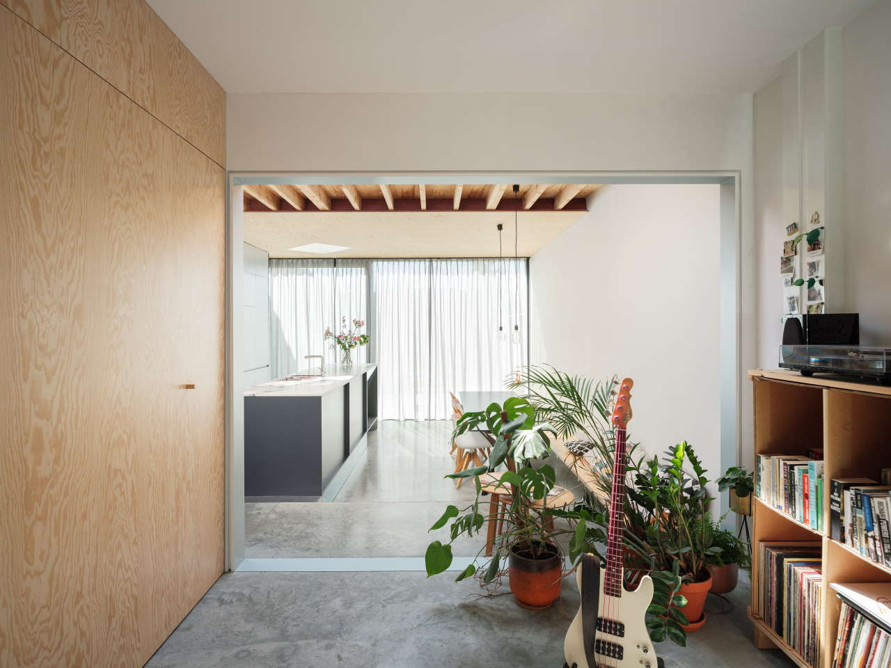 This contemporary home extension is a stylish dwelling located on a very small footprint and with a small depth